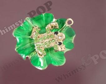 1 - Gold Tone Green Crystal Rhinestone Frog on Lily Pad Pendant Charm, Frog Charm, 48mm x 53mm (R8-224)