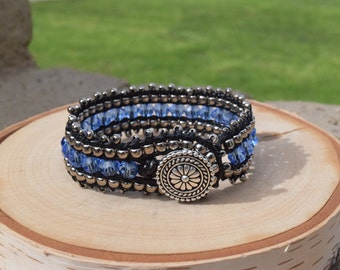 Handmade Blue/Black   leather wrap cuff bracelet