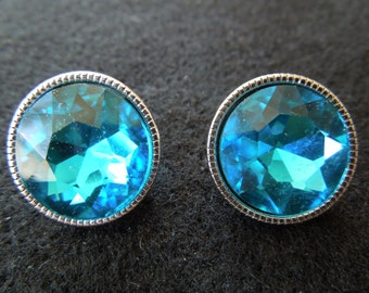 Vintage Clip Earrings, Silver Tone with a Large Blue Rhinestone.