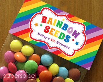 Personalized Rainbow Seeds Party Treat Bag Toppers – DIY Printable (Digital File)