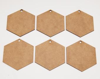 Hexagon Hanging Decorations Laser Cut Craft Crafting 70mm