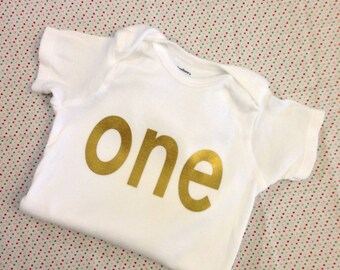 """Gold Iron-On vinyl """"one"""" lettering for yearly, monthly or birthday onesie- Lettering ONLY (First Class Shipping Rate)"""