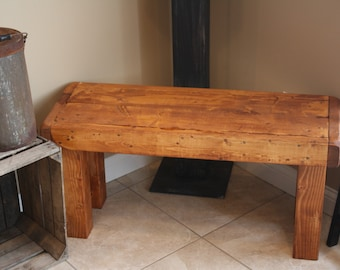 "Beautiful Unique Primtiques Rustic American Walnut Stained Framed Bench 14x38x18""h Custom Sizes Colors Cabin Home Garden Porch Decor"