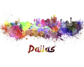 Dallas skyline watercolor canvas, Dallas Canvas Print, Dallas wall art, Canvas Wall Art, Watercolor Skyline, Gift Ideas, Dallas print