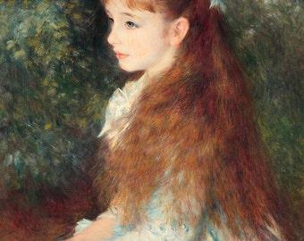 Fine Art Reproduction, Mademoiselle Irene, Auguste Renoir, Bedroom Living Room Dining Room Girl's Room Wall Art, Girl Portrait