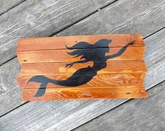 Mermaid painting on reclaimed wood sign - nautical siren - sea creature - silhouette - Coastal - nautical - Ocean - wood art