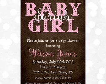 Girl Baby Shower Invite - It's a Girl Shower Rustic Pink and Brown Baby Shower Invite Pink Stripes Invite Pink Brown (Item #2)