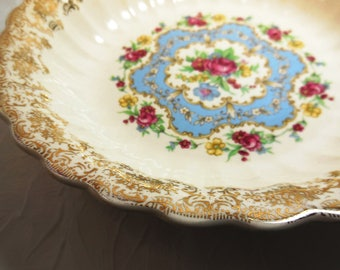Limoges American, Lyric Pattern,  Pink Rose, Coupe Soup Bowl,  22 K Gold Filigree Rim