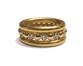 18k Diamond Stacking Rings (3 Rings) Eternity Band