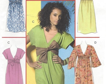 Womens Stretch Knit Empire Waist Dress and Sash OOP McCalls Sewing Pattern M5432 Size 6 8 10 12 14 Bust 30 1/2 to 36 UnCut Sewing Patterns