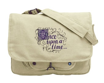 Once Upon A Time Messenger Bag,  Embroidered Canvas Messenger Bag