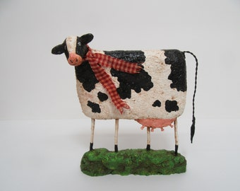 Paper Mache Cow - Folk Art Cow - Primitive Cow - Cow Sculpture - OOAK Sculpture