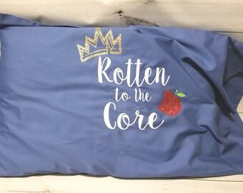 Rotten to the Core Descendants Glitter Sparkle Blue Standard Queen Pillowcase READY TO SHIP