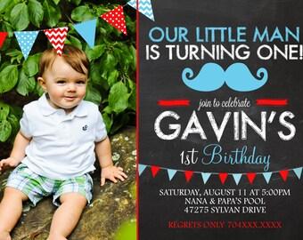Mustache Invitation - Little Man Birthday Invitation - First Birthday Invitation - Mustache Printable - Boy Birthday