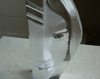 stunning crystal face sculpture