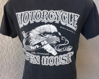 Harley Davidson York PA Motorcycle Open House 1997 faded black vintage t-shirt - size large