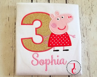 Peppa Pig Birthday Shirt - Birthday Shirt Girl, Girls Birthday Shirt, Birthday Outfit, 1st Birthday, Toddler Birthday, George Pig, Peppa Pig