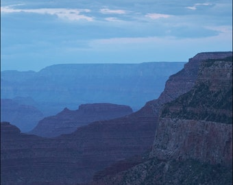 Moon Over Grand Canyon in Blue - Color Photo Print - Fine Art Photography (GC06)