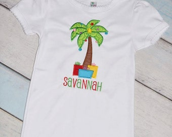 Christmas in Florida Palm Tree Holiday Girls Applique Shirt Personalized