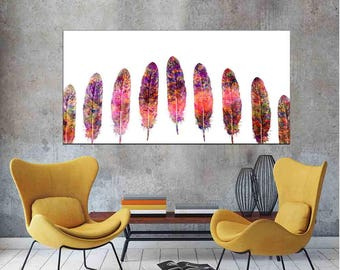 Panoramic feather print Panoramic wall art Feather Decor Christmas Gift Housewarming Gift