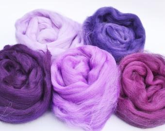 Merino wool tops, merino wool roving, felting wool, spinning wool, merino 64, wool for felting, purple merino wool, fiber, textile supplies