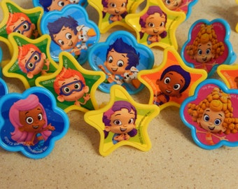 24 Bubble Guppies Cupcake Topper Rings Birthday Party Decoration/ Licensed