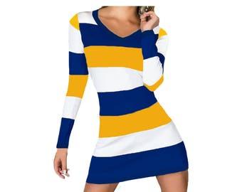 Navy or Blue + Yellow Stripe Spirit Dress