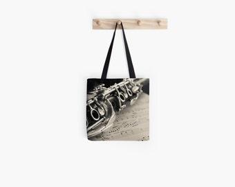 Clarinet Tote Bag, Music Tote, Clarinet Bag, Band Merch, Music Gift Clarinet Photo Tote Shoulder Bag Shopping Bag Beach Bag Still Life Photo