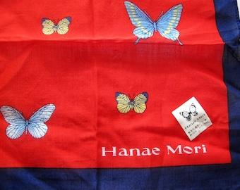 Butterfly Hanae Mori Hankie hanky red