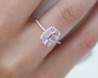 2.5ct cushion lavender peach champagne sapphire 14k rose gold diamond ring engagement ring