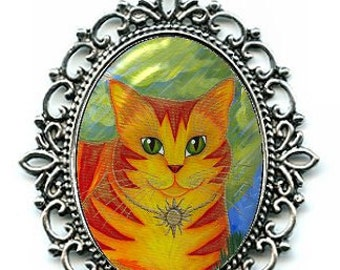 Sun Cat Necklace Rajah Golden Cat Orange Cat Cameo Pendant 40x30mm Gift for Cat Lovers Jewelry