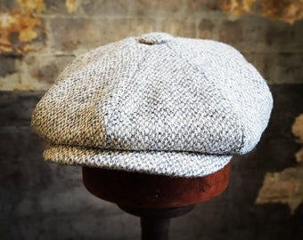 Tweels Country Collection * BOSTON * Harris Tweed * Newsboy Gatsby Bakerboy Peaky Blinders Cap Hat * 100% Wool * Natural Oatmeal * Olney