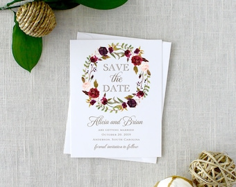 Printed Rose Wreath Save the Dates, Autumn Flower Save the Dates, Watercolor Save the Dates, Rustic Farm Style Printed Save the Date Cards