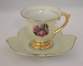Antique Demitasse cup saucer small Fragonard Courting Couple Love Story Scalloped Saucer Leaf Design Tea Cup Japanese Elbro