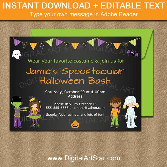 Kids Halloween Chalkboard Invitation Kids Costume Party