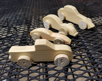Set of Three Wooden Toy Trucks and Cars