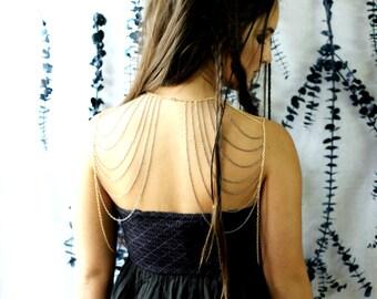 Back Chain Jewelry, Body Statement Jewelry, Bohemian, Hipster, Shoulder Jewelry, Body Chain, Statement Jewelry, Shoulder Chain Jewelry