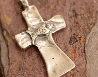Fish on Cross Sterling Silver Pendant