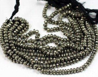 Faceted Pyrite Rondelles, FULL STRAND, 8 inches, 58 pieces, 6x4mm, Pyrite Gemstone, Pyrite Rondelles