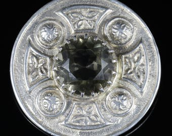 Antique Victorian Scottish Citrine Brooch Silver Circa 1860