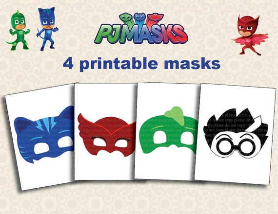 Dramatic image in pj masks mask printable