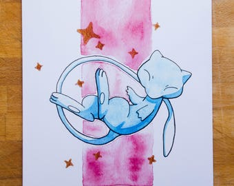 Shiny Mew Watercolor - A5 Print