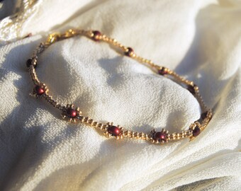 Red and Gold Pearl Anklet
