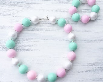Pink and Mint Bubblegum Necklace - Girl Toddler Necklace - Baby Bubblegum Bracelet - Girl Chunky Necklace - Baby Photo Prop - 1st Birthday