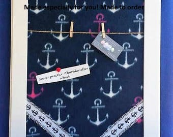 Anchor Wall Decor,Anchor Bulletin Board, Navy Blue and White Decor,Anchor theme room, coastal wall hanging,navy mom gift,boat anchor decor