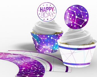 Printable Galaxy Cupcake Toppers and Wrappers, Galaxy Birthday Party, Galaxy Cupcakes, Edit Yourself, Instant Download