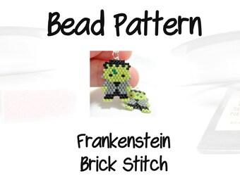 Green Frankenstein Bead Pattern, Halloween Charm, Peyote / Brick Stitch DIGITAL DOWNLOAD
