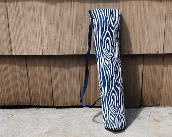 Yoga Mat Tote Bag Navy Blue White Abstract Stripe Cotton Twill Canvas