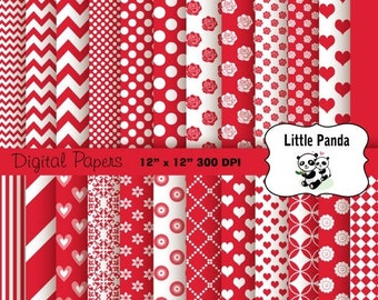 70% OFF SALE Valentine Digital Scrapbooking Papers 24 jpg files 12 x 12 - Instant Download - D205