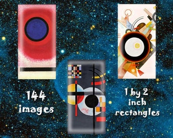 "Wassily Kandinsky - Digital Download, 1"" by 2"" rectangles on 8.5 x 11 paper, printable images for pendants, bezels, crafts"